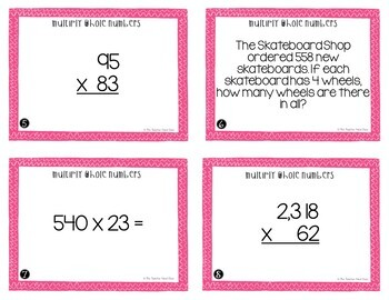 Whole Number Multiplication Task Cards for 5th Grade