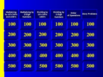 Whole Number Multiplication and Division-5th Grade Jeopardy Review Game