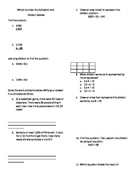 Whole Number Multiplication and Division Review- COMMON CORE