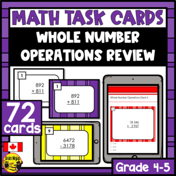 Whole Number Operations Task Cards Grades 4-5