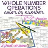 Whole Number Operations Color by Number