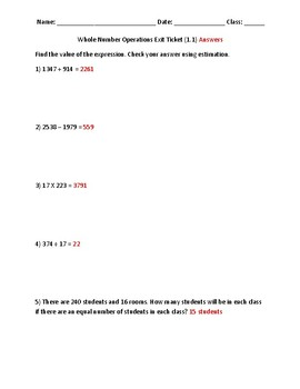Whole Number Operations Exit Ticket