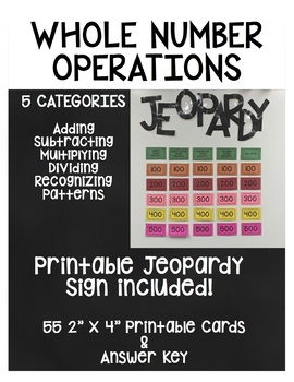 Whole Number Operations Jeopardy Game