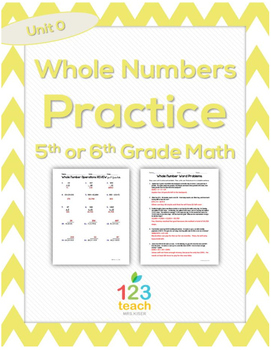 Whole Number Operations Practice Worksheet