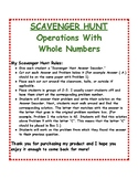 Whole Number Operations: Scavenger Hunt
