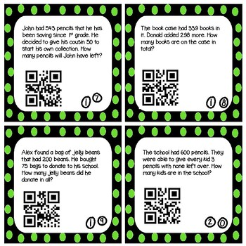 Whole Number Operations Task Cards (Optional QR Codes)