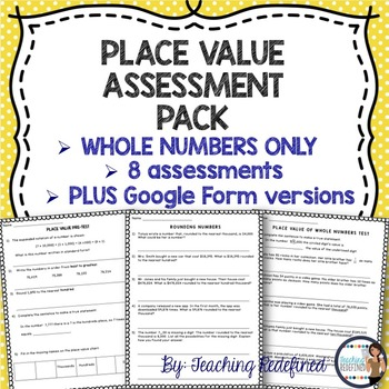 Whole Number Place Value Assessment Pack {with Google Forms}
