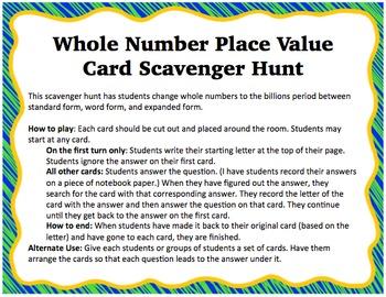 Whole Number Place Value Scavenger Hunt Cards