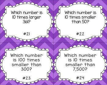 Whole Number Place Value Skills Task Card Set