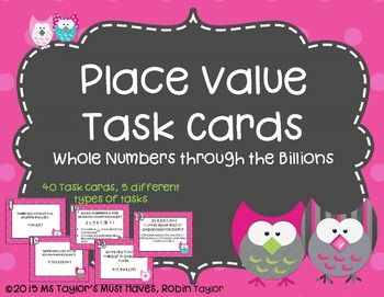 Whole Number Place Value Task Cards Through the Billions
