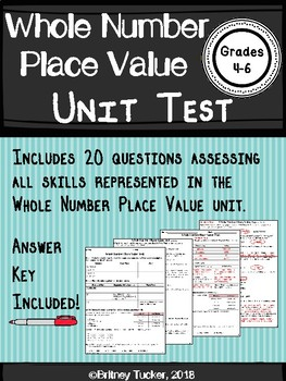 Whole Number Place Value Unit Test