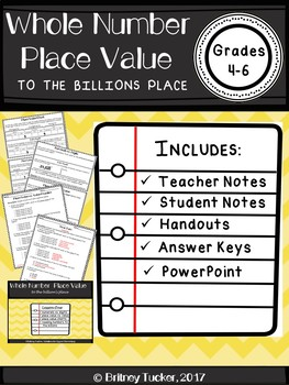Whole Number Place Value to the Billions Lesson (PDF and POWERPOINT version)