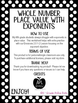 Whole Number Place Value with Exponents