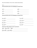 Whole Number Powers of Ten and Order of Operations Quick Review