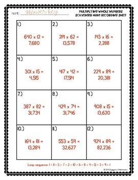 Whole Number Scavenger Hunt Set #1: Multiplying Multi-Digit Numbers (5.NBT.B.5)