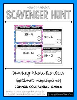 Whole Number Scavenger Hunt Set #2: Dividing Numbers {no r