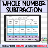 Whole Number Subtraction-Digital Matching Activity