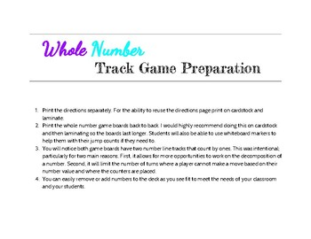Whole Number Track Game
