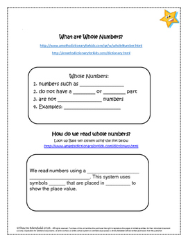 Whole Number Unit Student Packet plus extras