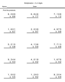 Whole Number Worksheets