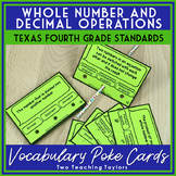 Whole Number and Decimal Operations Vocabulary Poke Cards