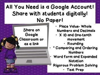 Whole Number and Decimal Place Value TEKS 4.2A 4.2B 4.2C 4.2D Google Classroom
