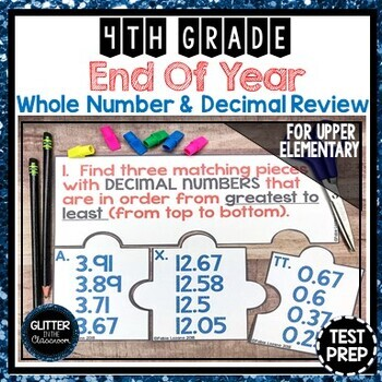 End of Year Whole Number & Decimal Review - Test Prep - 4th Grade