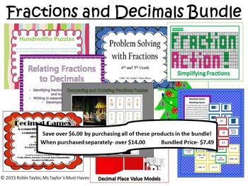 Fractions and Decimals Bundle- 4th Grade