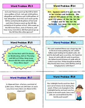 Whole Numbers FREE PREVIEW Word Problems Task Cards