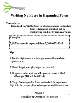 Whole Numbers Math Journal - Grade 3