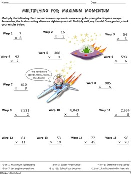 Whole Numbers Math Review (Fun, Out-of-this-World Theme) CCSS Aligned