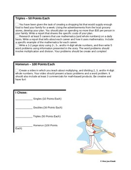 Whole Numbers Project - Baseball Menu