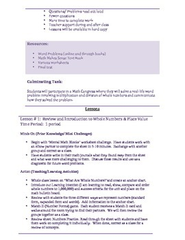 Whole Numbers Unit Plan (Grade 6)