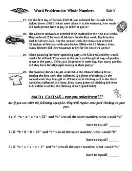 Whole Numbers Word Problems All Operations