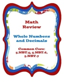 Whole Numbers and Decimals Review - Common Core (5th)