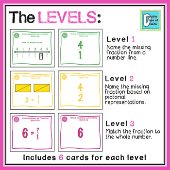 Whole Numbers as Fractions Matching Game