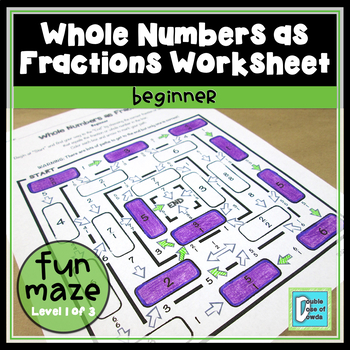 *HALF-PRICE FOR 24 HOURS* Whole Numbers as Fractions Worksheet - Beginner