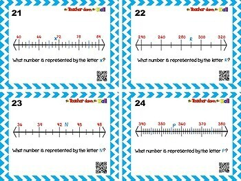 Whole Numbers on Number Lines - 24 Task Cards w/ QR Codes!