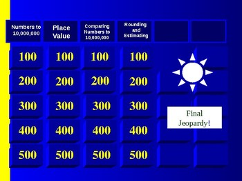 Whole Numbers to 10,000,000 5th Grade Math-Jeopardy Game Review