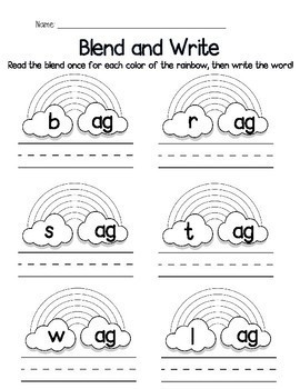 Blend and Write CVC Word Families. 18 Families, 2 Blank Templates, No Prep!