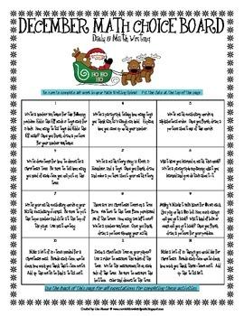 Whole School Year Math Choice Boards