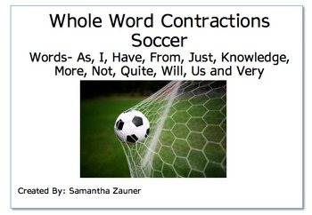Whole Word Contractions Soccer Braille