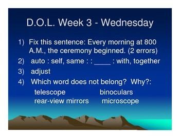 Whole Year Daily Langage Practice (DOL) Morning Work 4th, 5th, 6th, or 7th Grade