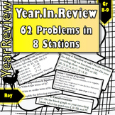 Whole Year Review: 8 Stations (8th Math or Algebra I)