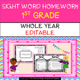 Whole Year - {Editable} Sight Word Homework - 1st Grade - Distance Learning