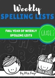 Whole Year of Grade 2 Spelling Lists