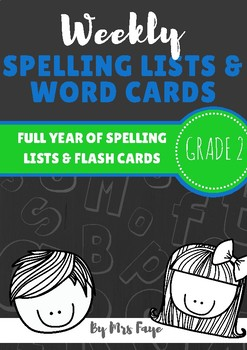 Whole Year of Grade 2 Spelling Lists and Word Cards