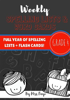 Whole Year of Grade 4 Spelling Lists and Word Cards