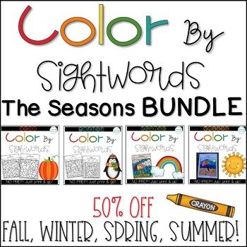 Color by Sight Words Seasonal BUNDLE