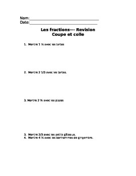 Whole and Partial Fractions Word Problems en francais